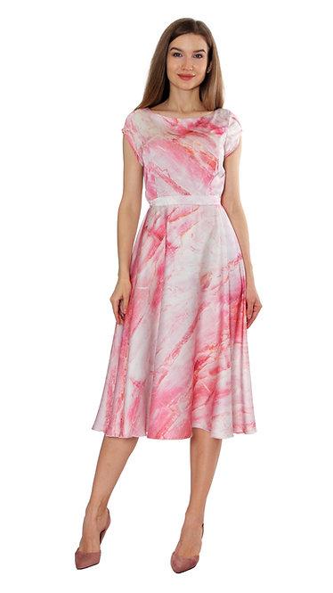 А 507 Платье TAR шелк мрамор розовый