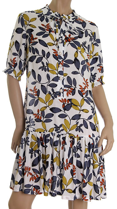 А 610 Платье ALSY короткий рукав белое в крупный лист