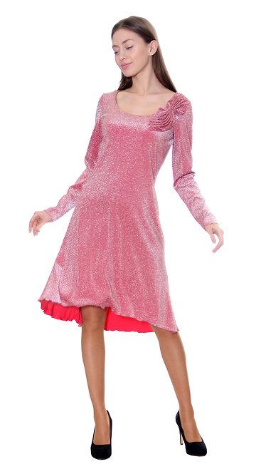 А 493 Платье PROZA люрекс коралл бант