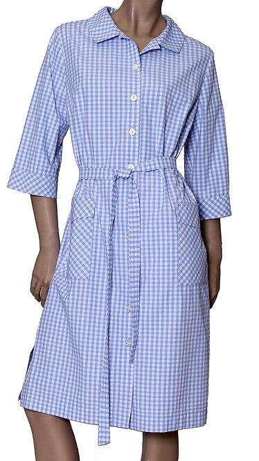 А 540/1 Платье Vil дл. клетка голубая мелкая