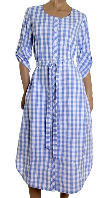 П 845 Платье Kafa крупная голубая клетка