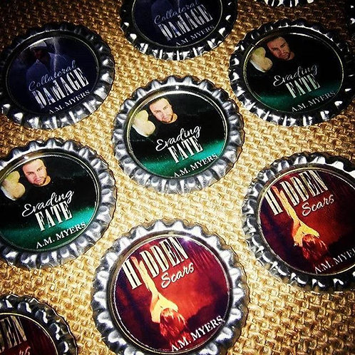 Bottle Cap Magnets: Personalized Author Swag