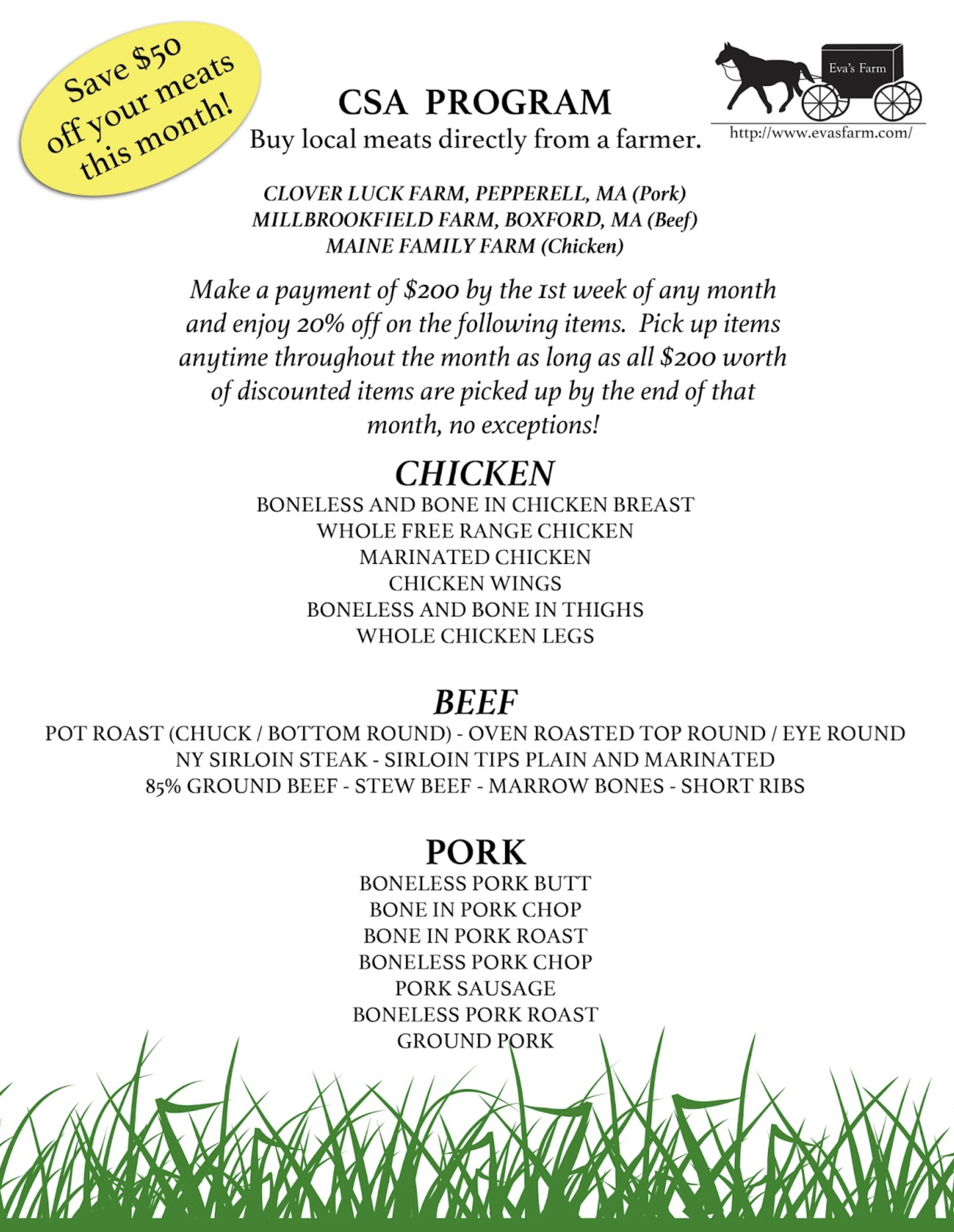 Eva's Farm email & Flyer