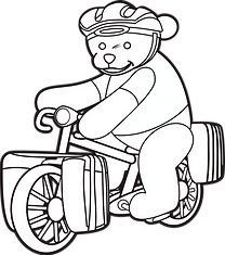 coloring page ted on bike