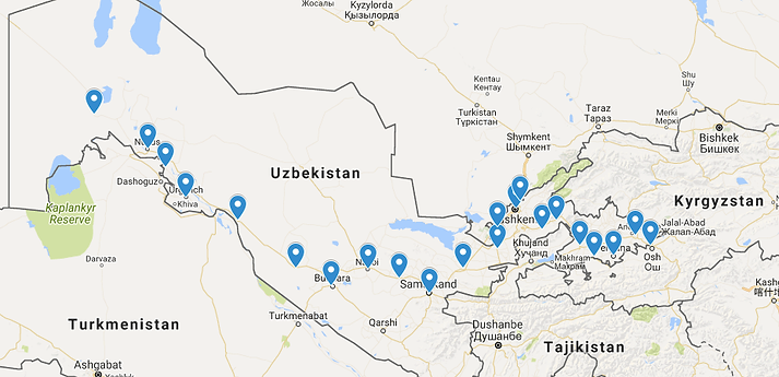 Pedalgogy Bike Touring Teachers Central Asia - Uzbekistan interactive map
