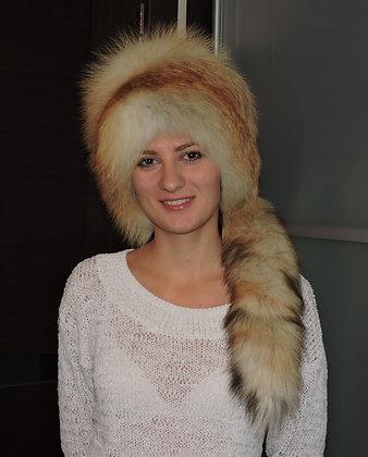 Шапка из Сибирской лисы с хвостом