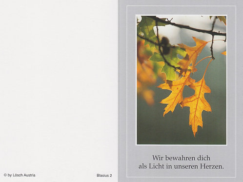 Herbstlaub-Blasius 2 - ab 10 Stück inkl. Druck