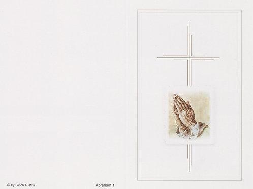 Kreuz mit betende Hände-Abraham 1 - ab 10 Stück inkl. Druck