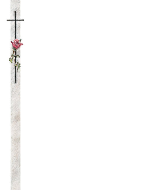 Rote Rose mit Kreuz-89002 - ab 10 Stück inkl. Druck