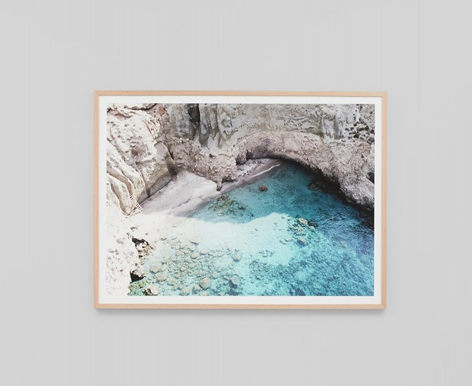QUIET COVE GLASS FRAMED PRINT