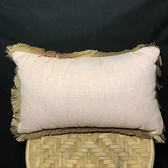 LINEN FRINGE CUSHION 30x50