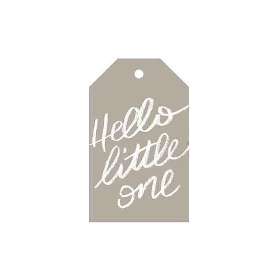 HELLO LITTLE ONE GREY GIFT TAG