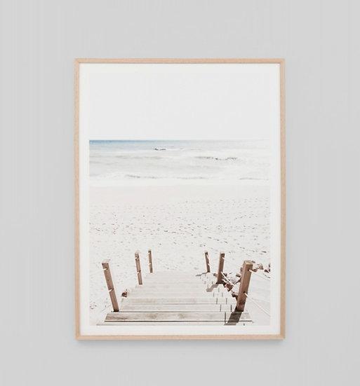 BEACH STEPS GLASS FRAMED PRINT
