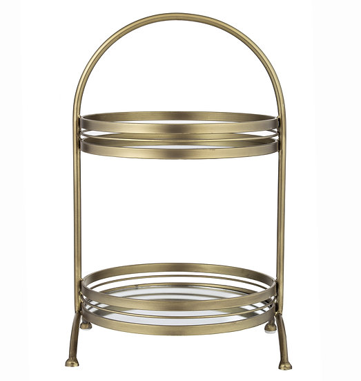 TWO TIERED TRAY STAND GOLD