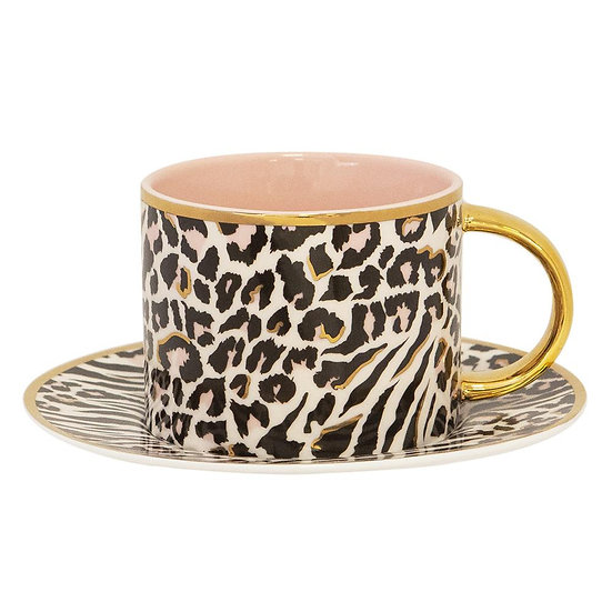 SAFARI LEOPARD TEACUP AND SAUCER