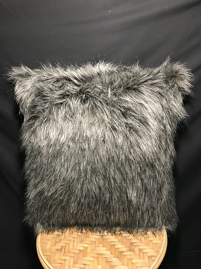 KASHMIR FAUX FUE CHARCOAL CUSHION