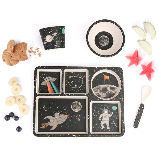 Bamboo divided plate set space adventures