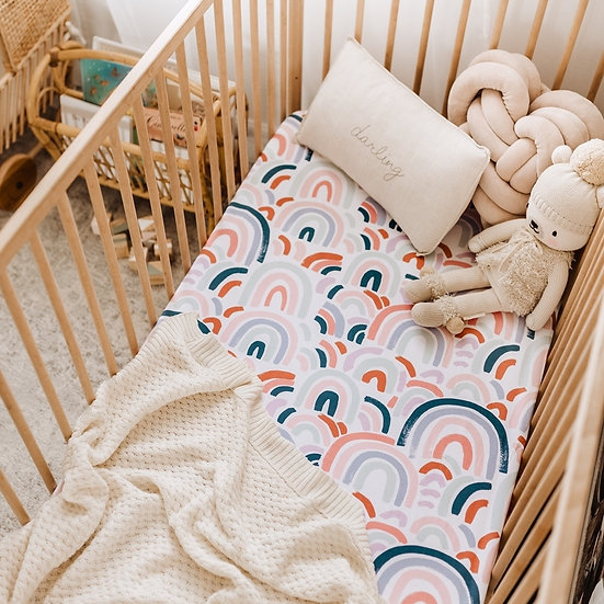 RAINBOW BABY COT SHEET