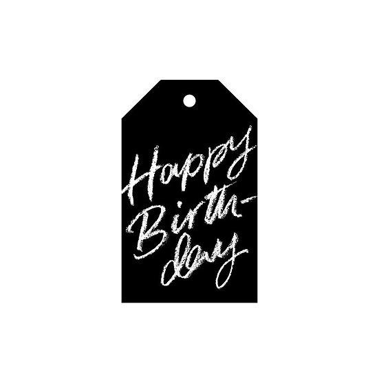 HAPPY BIRTHDAY BLACK GIFT TAG