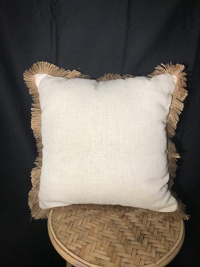 White fringing cushion
