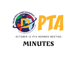 PTA Member Meeting Minutes