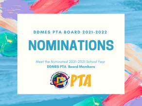 DDMES PTA MEMBERS IT'S 2021-2022 BOARD NOMINATIONS
