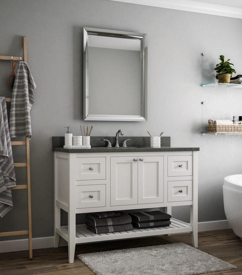Free-standing white vanity