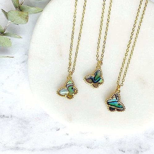 Tiny Albalone Butterfly (Gold) Necklace