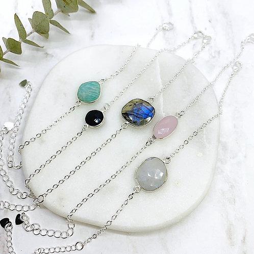 Adjustable Gemstone (Silver) Bracelets