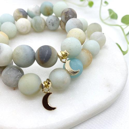 Crescent Moon + Amazonite Bracelet