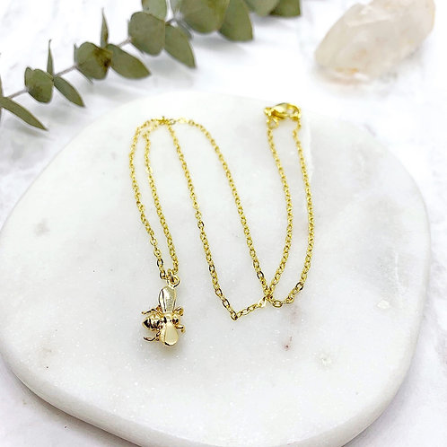 Tiny Bee Charm Necklace (Gold)