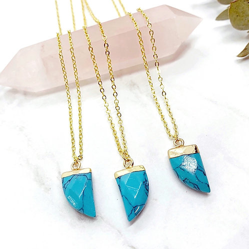 Turquoise Tooth (Gold) Necklace