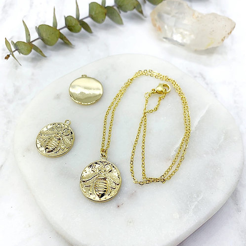 Bumble Bee Coin Necklace (Gold)