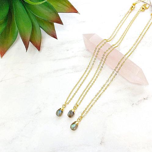 Tiny Labradorite Drop (Gold) Necklace