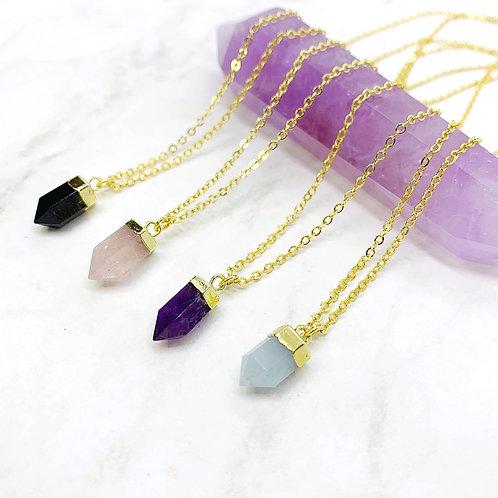 Tiny Gemstone Point Necklace (Gold)