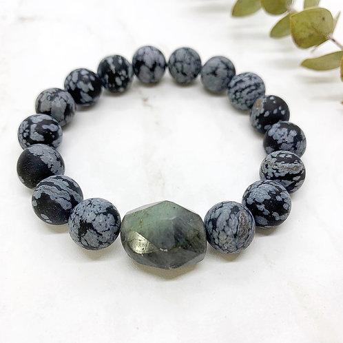 Matte Snowflake Obsidian + Labradorite Bracelet