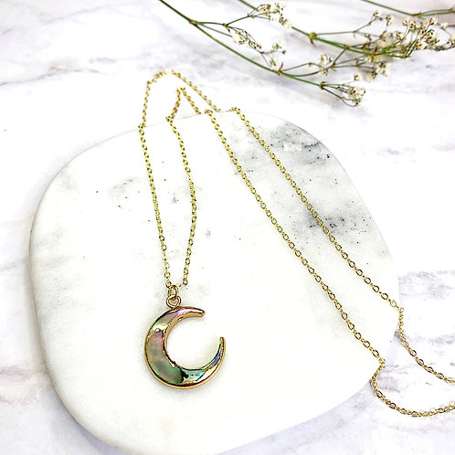 Natural Albalone Shell (Gold) Necklace