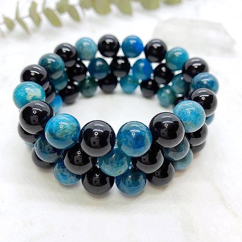 Apatite + Black Onyx Bracelet