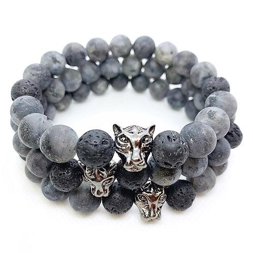 Larvikite + Lava Stone Panther Bracelet