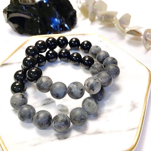 Matte Larvikite + Black Onyx Bracelet