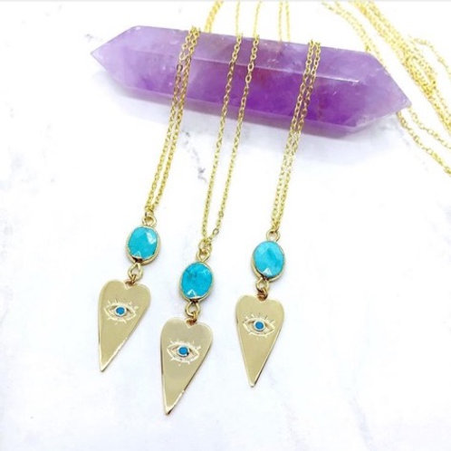 Turquoise Evil Eye (Gold) Necklace