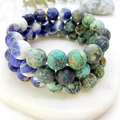 Matte African Turquoise + Matte Sodalite
