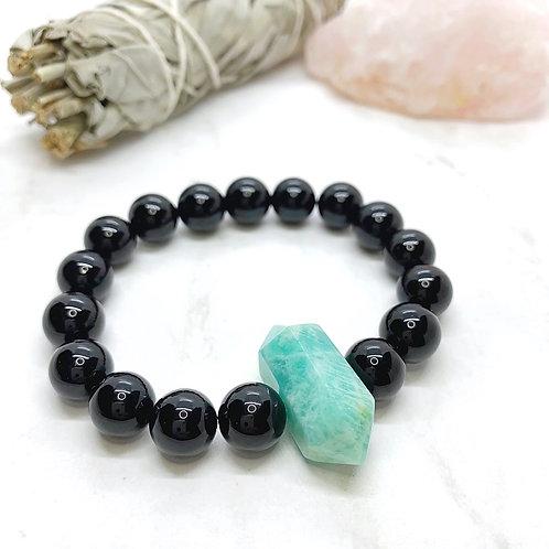 Amazonite + Black Onyx Bracelet