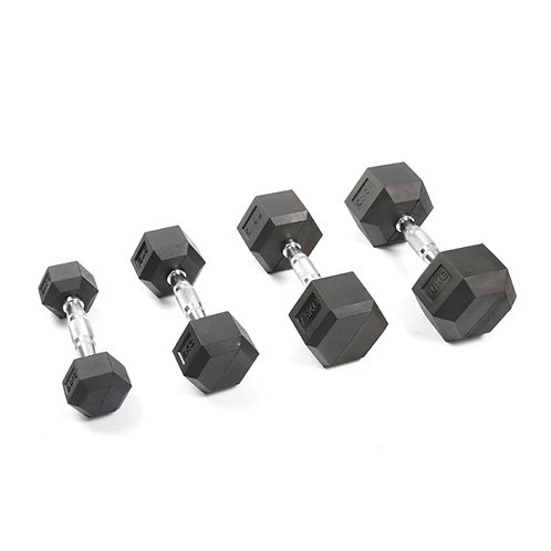 Black Rubber  Weights  Workout Cast Iron Dumbbells  for Training