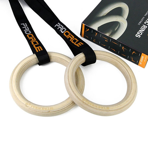 PROCIRCLE 32CM Wood Gymnastic Rings Workout  Pull Ups & Strength Training