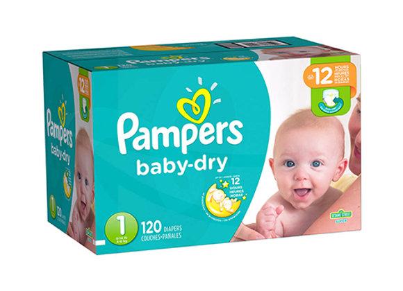 Panales Baby Dry Talla 1 Pampers Caja de 120 panales