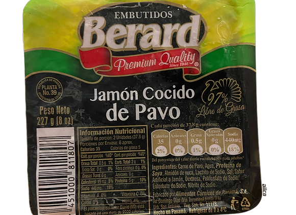 Jamon Cocido Berard de Pavo rebanado 227g