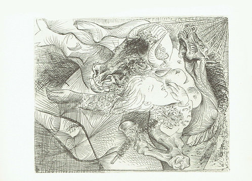 Pablo Picasso, Bull, horse and reclining woman