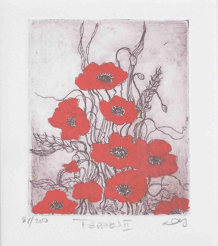 Dorothy Griffiths, Poppies II,  Coloured etching