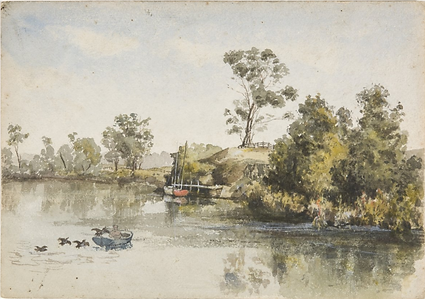 Emma Minnie Boyd, River with Fisherman a
